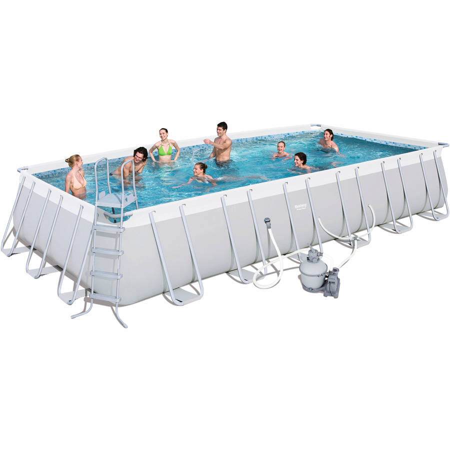 "Power Steel 24' x 12' x 52"" Rectangular Frame Pool Set with Sand Filter Pump"