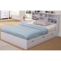 Beautiful Dazzling White Finish Full Size Chest Bed With 3 Drawers.