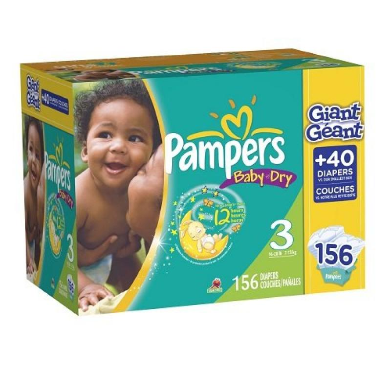 Pampers Baby Dry Diapers Size 3 Giant Pack, 156 Count