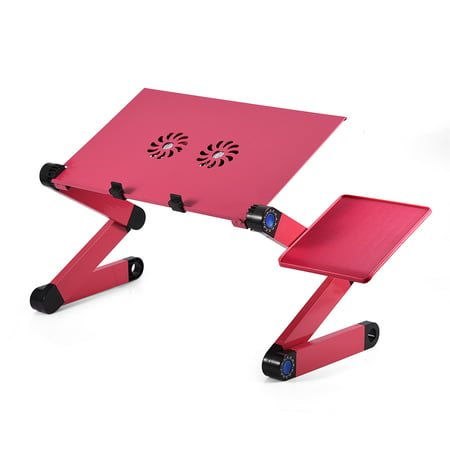 360 Degree Aluminum Notebook Desk,Foldable Laptop Table Portable Computer Desk Adjustable Bed Desk With w/ Cooling Dual Fan Mouse Board,Rose Red
