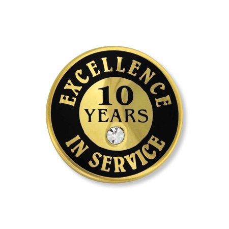 PinMart's Gold Plated Excellence in Service Enamel Lapel Pin w/ Rhinestone - 10 Years (Plated Enamel Pin)