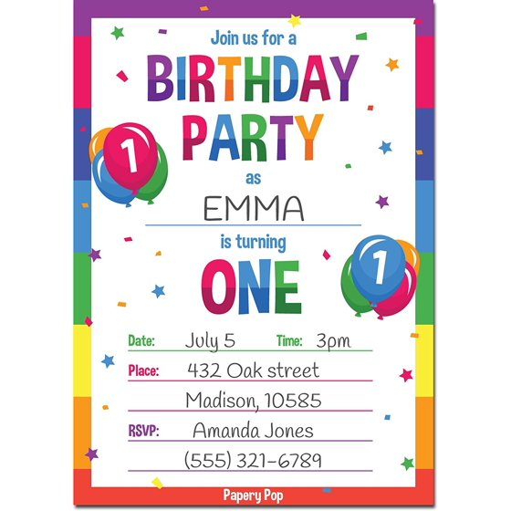 1st Birthday Party Invitations With Envelopes 15 Count