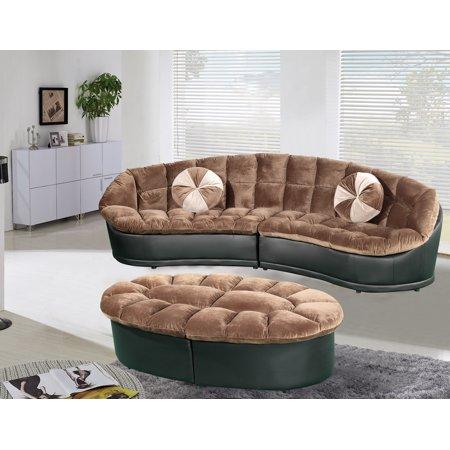 Papasan 4 Piece Sectional Sofa With 2 Accent Pillows