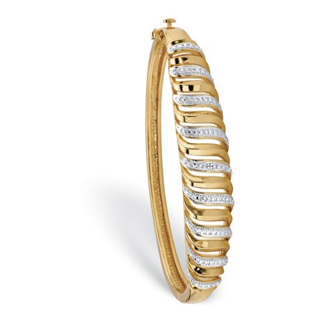 White Dial Two Tone Bracelet (White Diamond Accent Two-Tone Pave-Style Cutout Bangle Bracelet 18k Yellow Gold-Plated 7.25