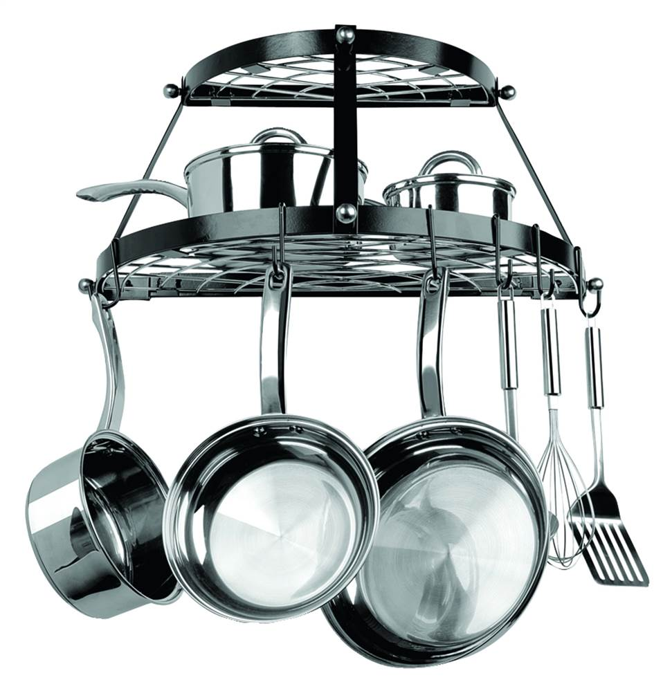 Two Shelf, Wall-Mount Pot Rack in Black - 24 in. Wide