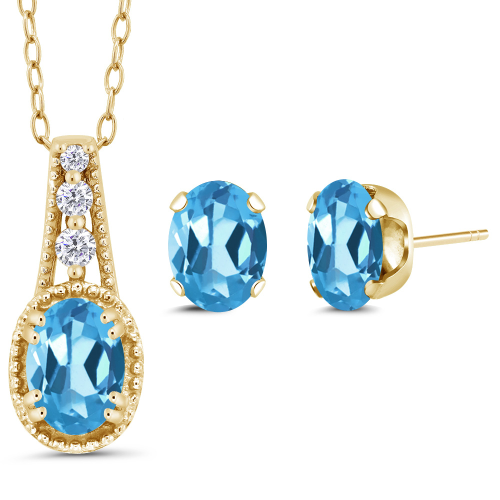 1.58 Ct Oval Swiss Blue Topaz 14K Yellow Gold Pendant Earrings Set by