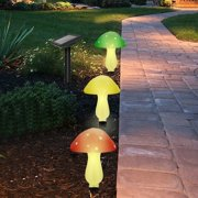 Myfuncorp Outdoor Garden Solar Powered Mushroom 3-Light LED Pathway Light