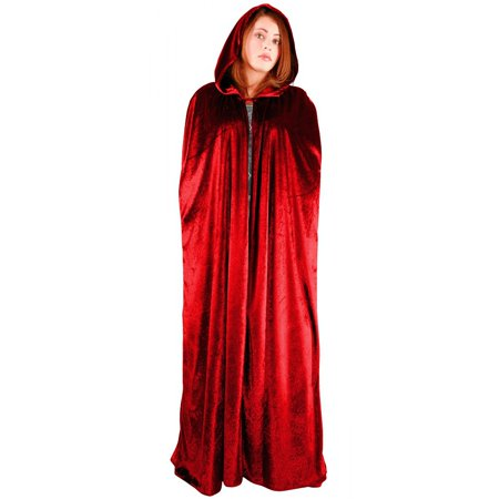 Full Length Velvet Hooded Cape/Cloak Adult Costume Red