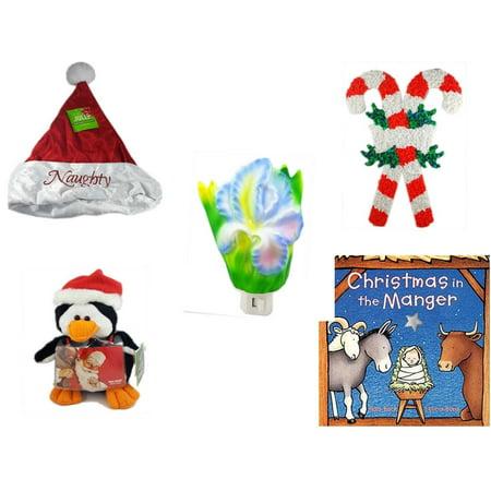 Christmas Fun Gift Bundle [5 Piece] - Be Jolly Embroidered Naughty Nice Santa Hat 17