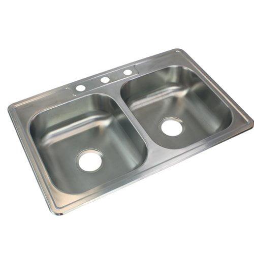 Transolid 33 L X 22 W Double Basin Drop In Kitchen Sink Walmart Com Walmart Com