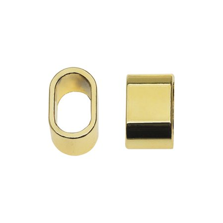 Global Chic Findings  Oval Sliders Fits 10X6mm Oval Cord  6 Pieces  Gold Plated Zinc Alloy