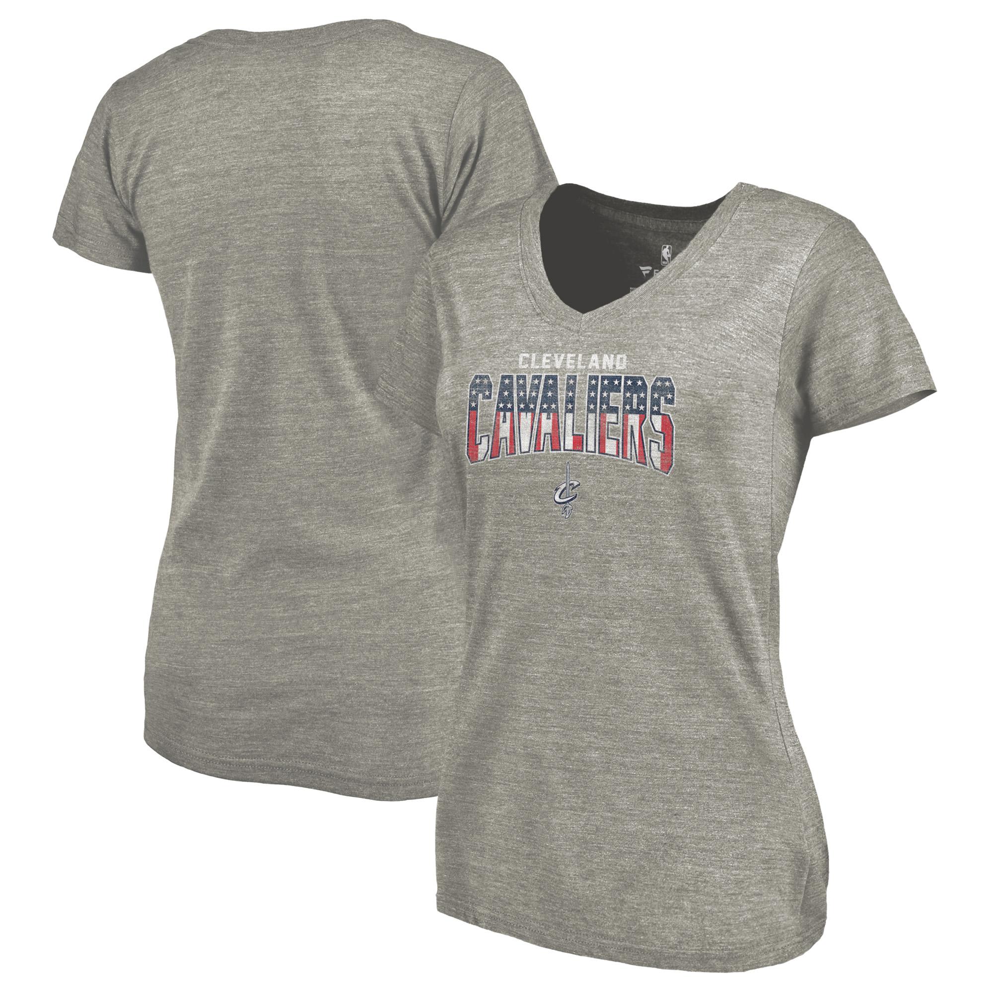 Cleveland Cavaliers Fanatics Branded Women's Freedom V-Neck Tri-Blend T-Shirt - Heathered Gray