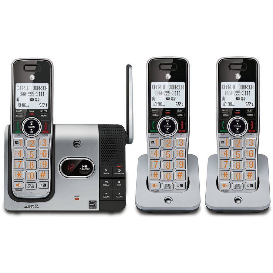 AT&T CL82314 DECT 6.0 Expandable Cordless Phone with Answering System and Caller ID, 3 Handsets, Silver/Black