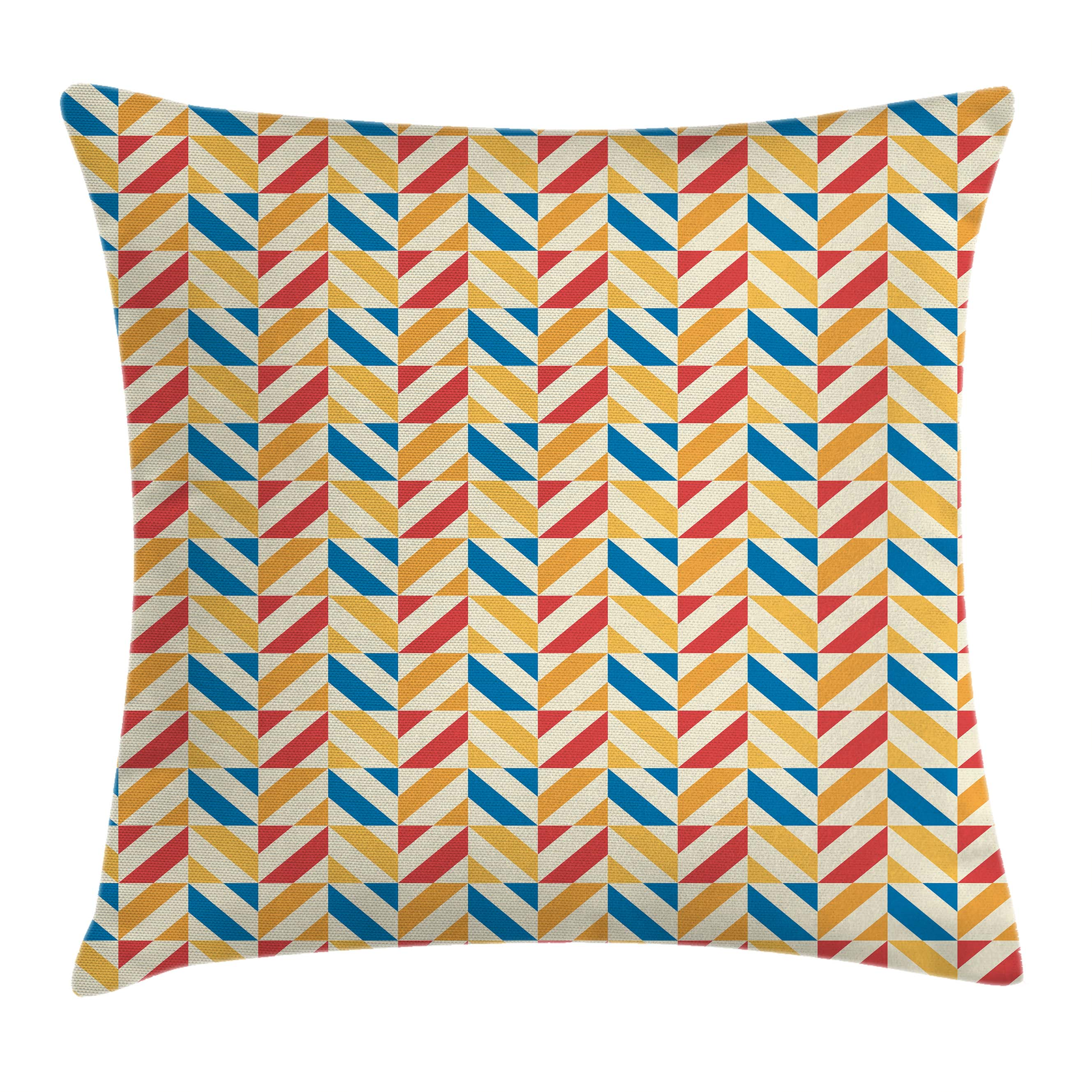 Kids Throw Pillow Cushion Cover, Checkered Pattern with Shabby Colored Diagonally Striped Squares Retro Tile, Decorative Square Accent Pillow Case, 16 X 16 Inches, Blue Marigold Scarlet, by Ambesonne