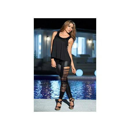 d28b2ed0775a7 Grupo Espiral LLC - Slash Wet Look Leggings 1825 Espiral Black - Walmart.com