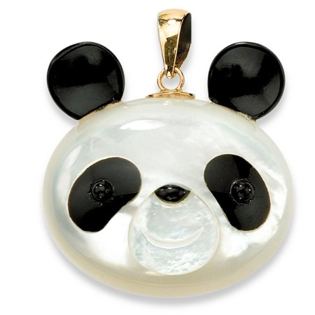 Onyx Ball Pendant (Genuine Mother-Of-Pearl and Reconstituted Onyx 14k Yellow Gold Panda Bear)