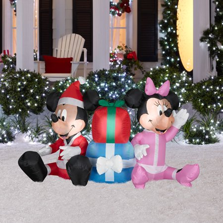 4 tall airblown christmas inflatable disney mickey mouse and minnie mouse with presents