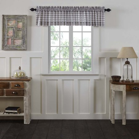 Antique White Grey Farmhouse Kitchen Curtains Jenna Buffalo Check Rod Pocket Cotton Buffalo Check 16x90 Valance