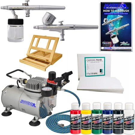 MASTER Airbrush & Compressor Artist Paint Kit w/ Canvas Panels, 6 CREATEX