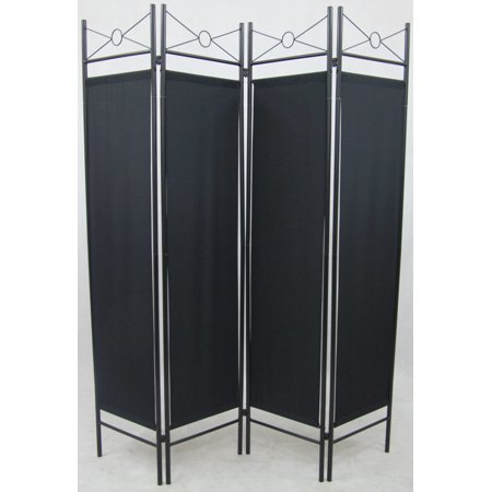 4 Panel Black Color Metal and Woven Fabric Room Divider with Two Way Hinges, By Legacy Decor