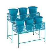 Benzara Good-Looking Styled Metal 2 Tier Plant Stand, Green