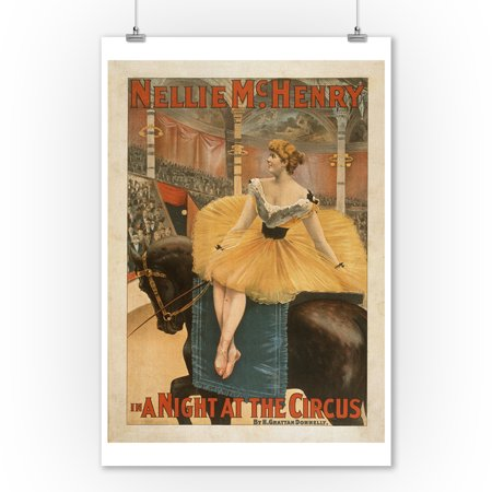 A Night at the Circus Theatrical Play Poster (9x12 Art Print, Wall Decor Travel Poster) (Circus Decor)