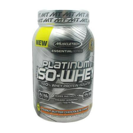 MuscleTech Platinum 100% ISO de lactosérum, 100% de protéines de lactosérum en poudre Isole, beurre d'arachide chocolat Twist, 1,79 lbs (811g)