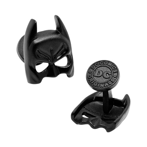 Men's 3-D Satin Black Classic Batman Mask Cufflinks