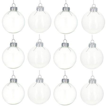 Set Of 12 Clear Glass Ball Christmas Ornaments 2 2 Inches