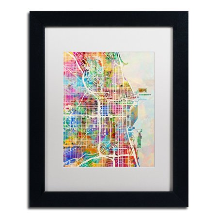 """Chicago City Street Map II by Michael Tompsett in White Matte and Black Framed Artwork, 11 by 14"""", 100% Cotton Canvas By Trademark Fine Art From USA"""