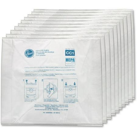 Hoover, HVRAH10363, HushTone Type-CC1 HEPA Bags, 10 / Pack, White