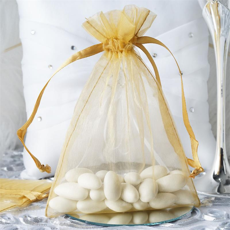 "Efavormart 10PCS  Organza Gift Bag Drawstring Pouch for Wedding Party Favor Jewelry Candy Sheer Organza Bags - 5""x7"""