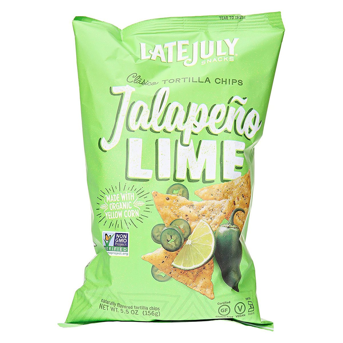 Kettle Late July Organic Jalapeno Lime Clasico Tortilla Chips 2oz (PACK OF 6)