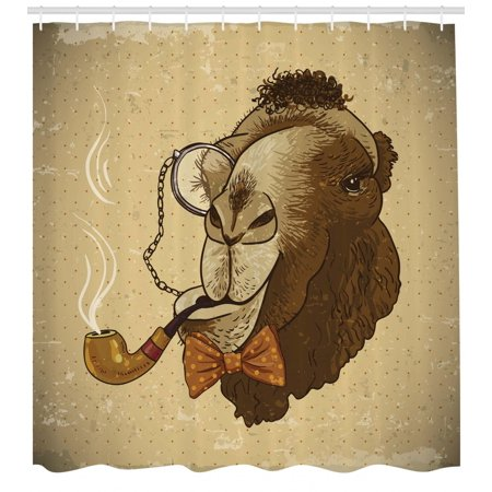 Animal Shower Curtain, Pop Art Stylized Hipster Camel with Pipe and Monocle Vintage Humor Fun Cool Graphic, Fabric Bathroom Set with Hooks, Brown Tan, by