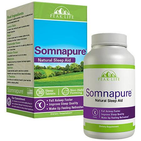 Peak Life Somnapure Natural Sleep Aid Dietary Supplement Tablets, 30 ct