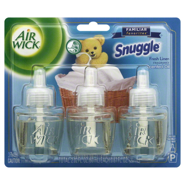 Air Wick Scented Oil Air Freshener, Familiar Favorites Collection, Snuggle Fresh Linen Scent, Triple Refill, 0.67 Ounce
