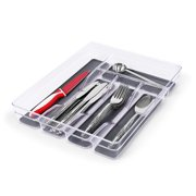 Internet's Best Kitchen Drawer Utensil Organizer Tray   Spoons Knives Forks Silverware Flatware   Acrylic Plastic Storage Containers with Silicone Lining Bottoms & Nonskid Feet   Cutlery 5 Sections