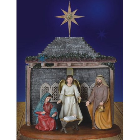 Christmas Nativity Set With Lit Creche And Olive Wood Star Of Bethlehem 7 Pc