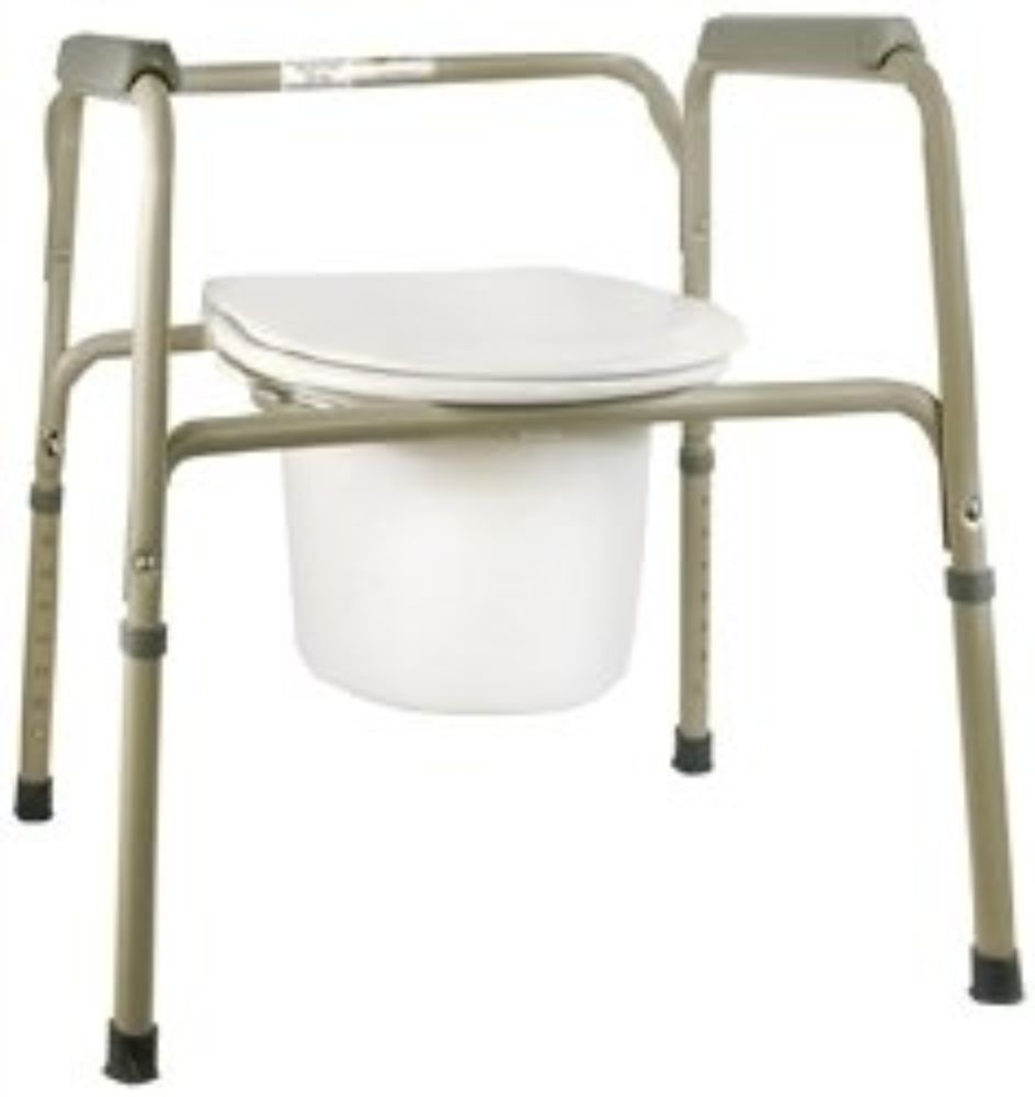 Commode Chair SunMark  Fixed Arms Steel Seat Lid Back 16 to 22 Inch