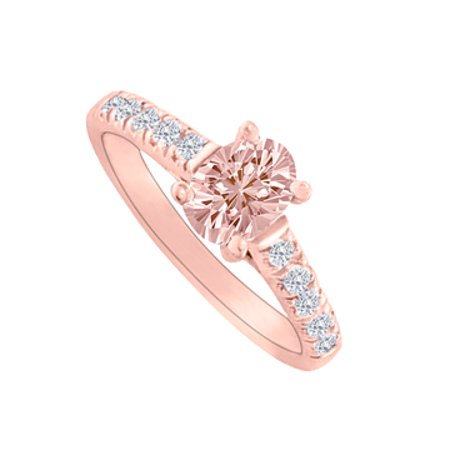 Morganite Diamond Accents Rose Gold Engagement Ring - image 1 de 2