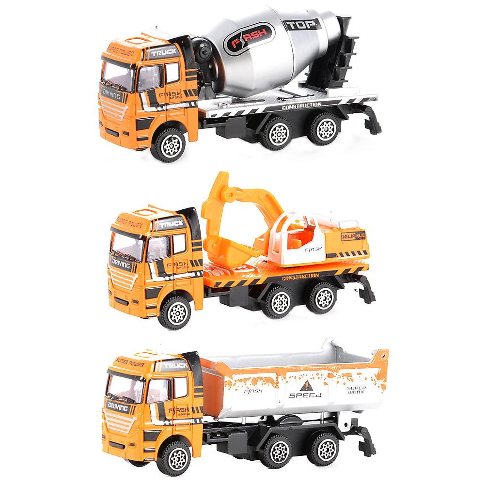 3PCS Diecast Metal Car Models Play Set Builders Construction Trucks Vehicle Playset by