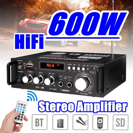 600W 110V 4-16Ohm Wireless Amplifier HIFI Stereo Audio AMP USB SD FM Mic For Car Home i Pad Phones