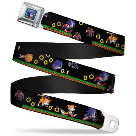 Sonic Tails Girl (Sonic Classic Sonic Pixelated Pose Full Color Blue Sonic & Tails 3 Enemies Seatbelt Belt)