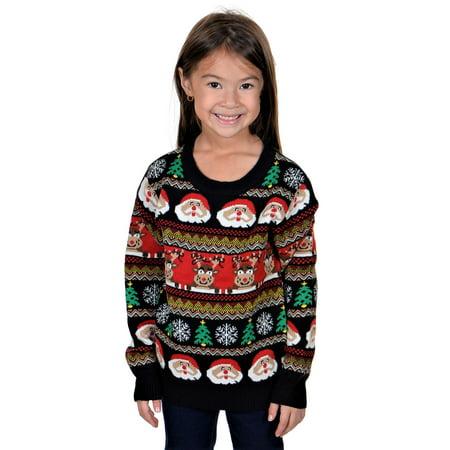 KESIS Children Santa Rein Deer Ugly Christmas Sweater - Santa Has Been Naughty Sweater