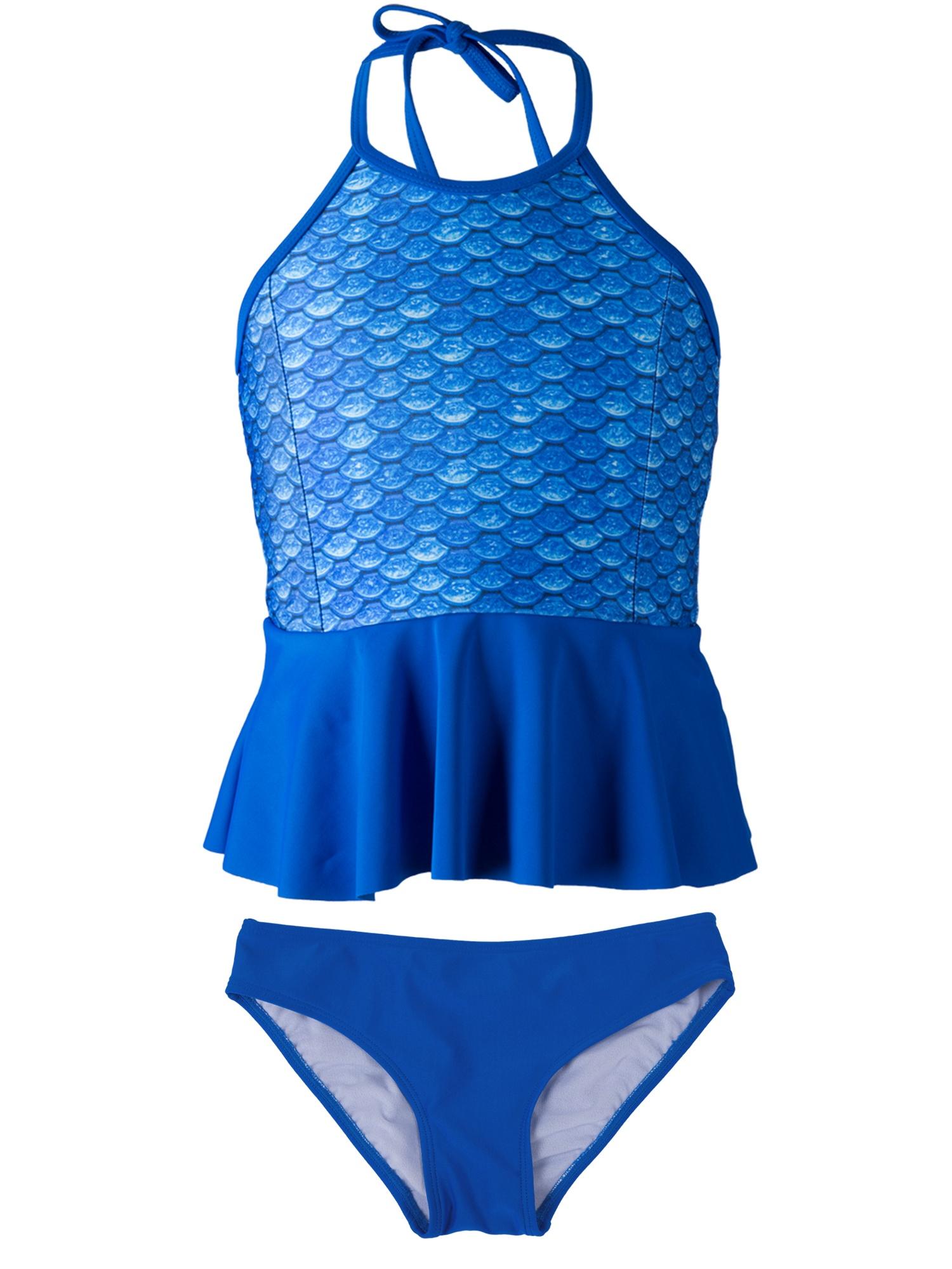Girls Peplum Tankini Set by Fin Fun, Matches Fin Fun Mermaid Tails