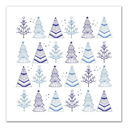 Ivy Bronx 'Blue Christmas Trees' Graphic Art Print on Canvas