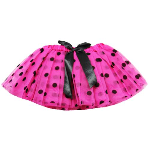 Baby Girls Hot Pink Black Polka Dots Satin Elastic Waist Ballet Tutu Skirt 0-12M