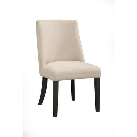 Alpine Furniture Live Edge Set of 2 Parson Dining Chairs in Cream-Black