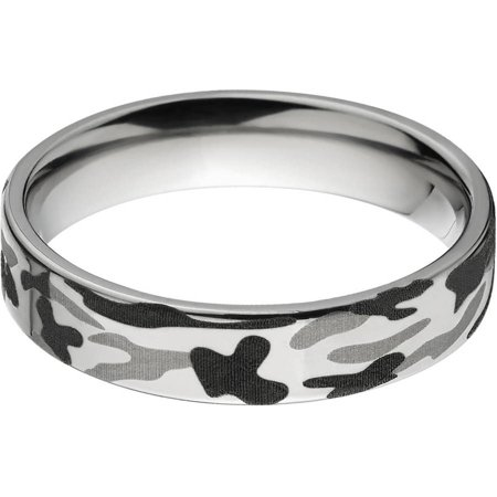 5mm Flat Titanium Ring with a Black and White Camo Laser Pattern thumbnail