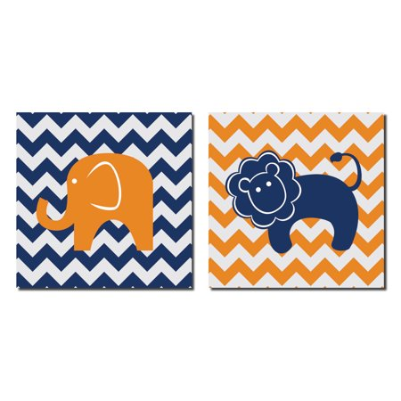 Adorable Colorful Baby Lion and Elephant on Chevron; Kids Room and Nursery Decor; Two 12x12. Blue/Orange/White